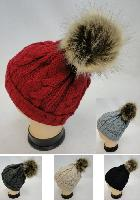 Ladies Knitted Hat with Fur PomPom [Cable Knit]